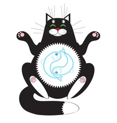 Cat meditating vector image vector image