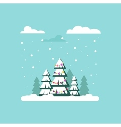 Christmas tree with garland clouds snow - vector