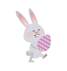 Cute easter bunny holding egg spring party vector