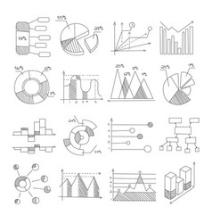Data graphic representation charts of different vector