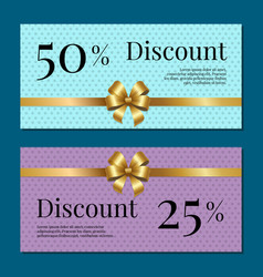 discount on 50 25 percent set of posters with gold vector image