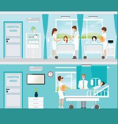 Doctor and patient in hospital room with beds vector
