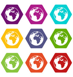 earth globe icon set color hexahedron vector image vector image