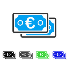 Euro banknotes flat icon vector