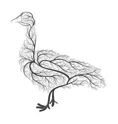 farm animals stylized bushes domestic goose vector image vector image
