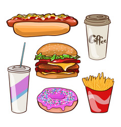 fast food flat collection vector image vector image