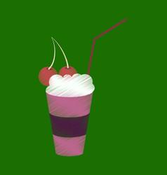 Flat shading style icon milkshake with cherry vector