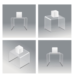 Glass rack podium shelf set 3d isometric realistic vector image vector image
