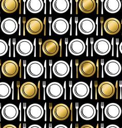 Gold food utensil icons seamless pattern vector image