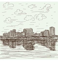 Hand-drawn cityscape vector