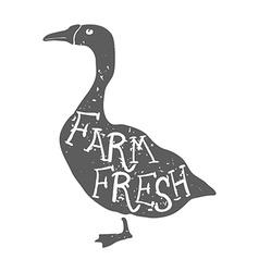 Hand Drawn Farm Animal Goose Farm Fresh Lettering vector image vector image