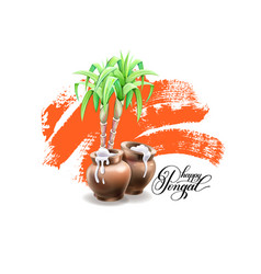 Happy pongal greeting card to indian winter vector