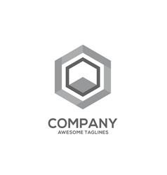 hexagon grey color logo concept vector image vector image