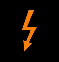 High voltage danger sign orange icon on black vector