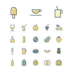 icons thin blue food drinks vector image vector image
