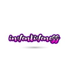 Inventiveness calligraphic pink font text logo vector