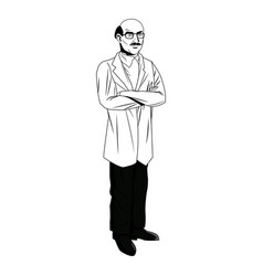 Mature medical male doctor with arms folded vector