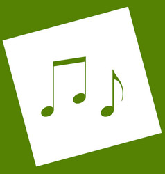 Music notes sign white icon obtained as a vector