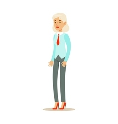 Old Woman In Vest With A Tie Part Of Office vector image vector image