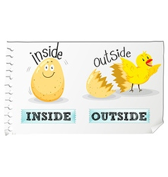 Opposite adjectives inside and outside vector image vector image