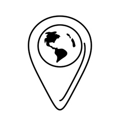 Outline pointer globe map location continent vector