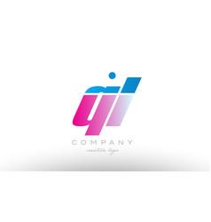 ql q l alphabet letter combination pink blue bold vector image vector image