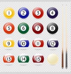 realistic pool - billiard balls and cue vector image