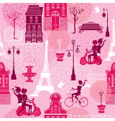 Seamless pattern with girls riding on scooter and vector