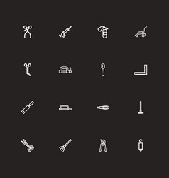 Set of 16 editable tools outline icons includes vector