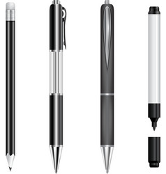 Set of black pens pencil and marker vector image