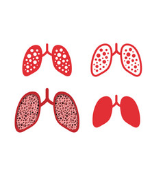 Set of lung cancer icons in design vector
