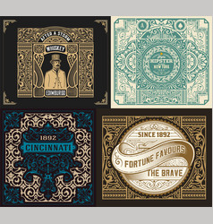 set of old labels vector image vector image