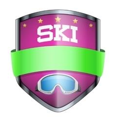 Ski shield badge vector