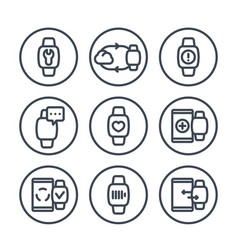 Smart watch line icons in circles over white vector