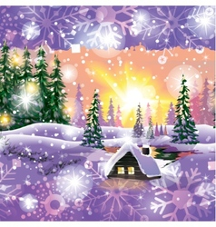 Winter landscape with house in forest vector