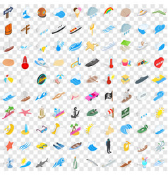 100 maritime icons set isometric 3d style vector