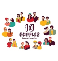 Family couples avatars people faces color set vector