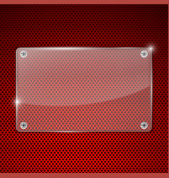 Transparent acrylic plate on red perforated vector