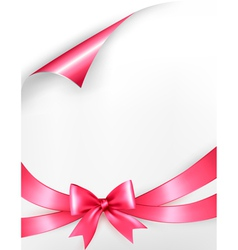 Holiday background with pink gift bow and ribbons vector