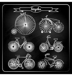 Set of bicycles in vintage style vector