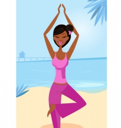 Yoga tree pose vector image