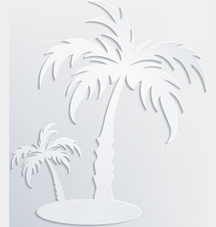 White background with palm cut out of white paper vector image