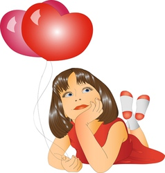 Girl and two balloons vector