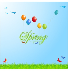 Spring background with text and balloons vector