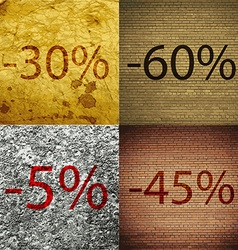 60 5 45 icon set of percent discount on abstract vector