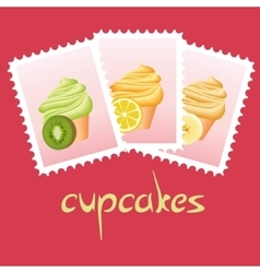 cupcake stamps vector image