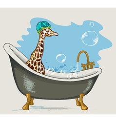 Giraffe sitting in the bathroom vector