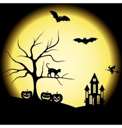 Halloween silhouettes and full moon vector