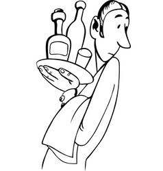 waiter holding tray with bottles vector image