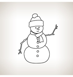 Christmas snowman on a light background vector